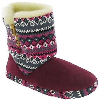 Divaz Ladies Velcro Knit Boots Slip On Bootee Slippers Womens Footwear Shoes