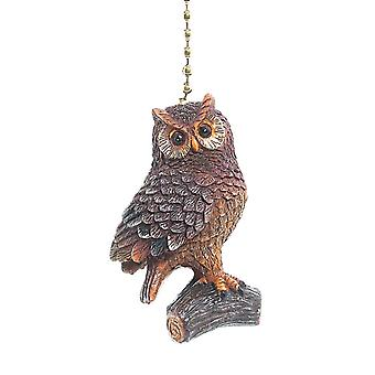 Brown Woodland Owl Decorative Ceiling Fan Light Pull 3 Dimensional