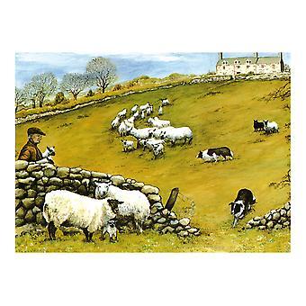 Tuftop Medium Textured Worktop Saver, Sheepdog and Sheep 40 x 30cm
