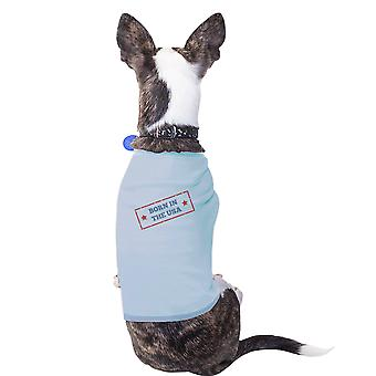 Born In The USA Sky Blue Pets Shirt Cotton American Flag Dog Tshirt