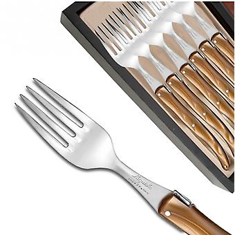 Set of 6 Laguiole forks pearly brown plexiglass handles Direct from France