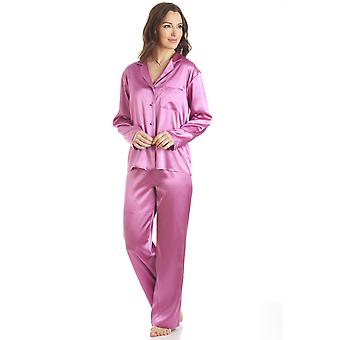 Camille Pink Satin Full Length Pyjama Set