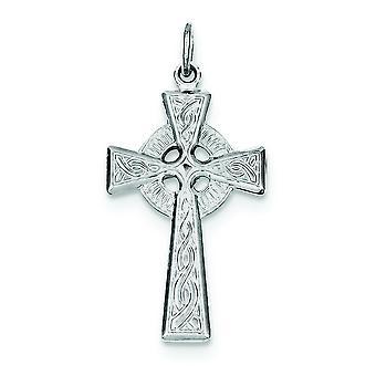 Sterling sølv Solid polert Cross anheng - 2.2 gram