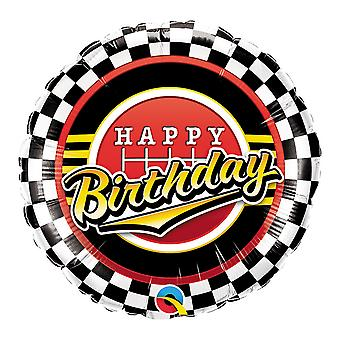Qualatex 18 Inch Birthday Checkered Pattern Circle Foil Balloon