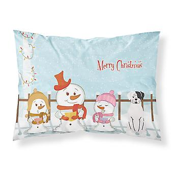 Merry Christmas Carolers White Boxer Cooper Fabric Standard Pillowcase