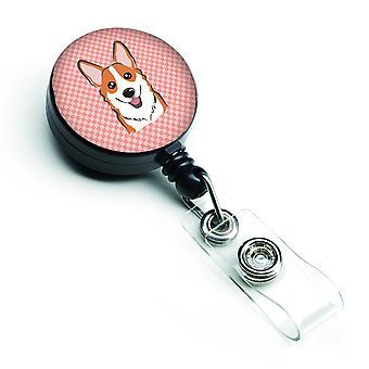 Carolines tesori BB1254BR Checkerboard rosa Corgi retrattile Badge Reel