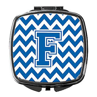 Carolines Treasures  CJ1056-FSCM Letter F Chevron Blue and White Compact Mirror