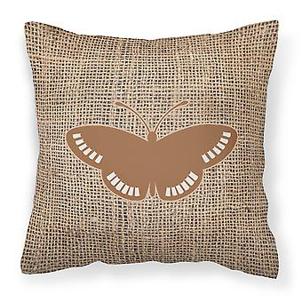 Butterfly Burlap and Brown   Canvas Fabric Decorative Pillow BB1031