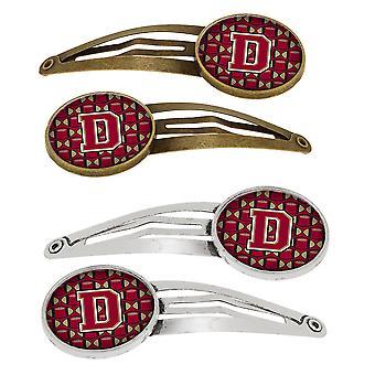 Lettera D calcio Garnet e oro Set di 4 clip per capelli Barrettes