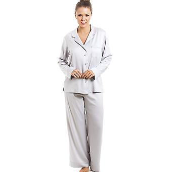 Camille Luxurious Silver Full Length Satin Pyjama Set