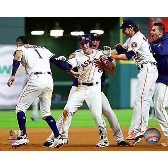 Alex Bregman celebrates his Game Winning Hit Game 5 of the 2017 World Series Photo Print