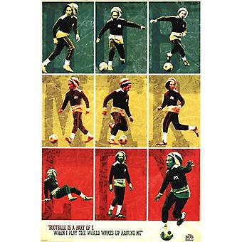 Bob Marley - Football  Soccer Collage Poster Poster Print