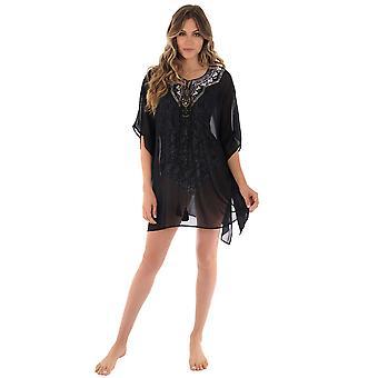 Miraclesuit 6511998 Women's Tiki Black Embellished Beach Dress Cover Up Kaftan