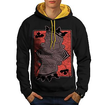 King Of Clubs Card Casino Men Black (Gold Hood)Contrast Hoodie | Wellcoda