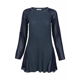 vivance collection long shirt women's sweatshirt blue