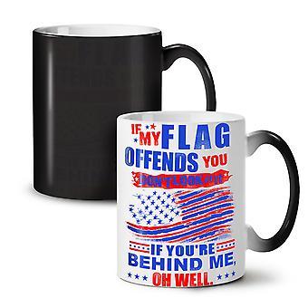 Flag America NEW Black Colour Changing Tea Coffee Ceramic Mug 11 oz   Wellcoda