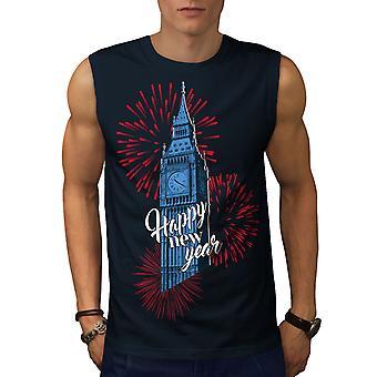 Reino Unido torre torre nueva hombres NavySleeveless camiseta | Wellcoda