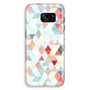 Samsung S7 Edge Full Print Case - Coloured triangles pastel