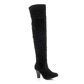 Ajvani womens mid high block heel over the knee fold over cuff riding pirate boots
