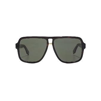 Marc Jacobs Iconic Stripes Oversize Square Pilot Sunglasses In Dark Havana