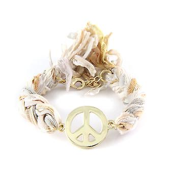 Ettika - Bracelet Peace and Love in yellow gold and cotton ribbons braids Multicolor