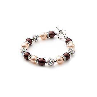 1 rank in beads Brown bracelet, Crystal and Rhodium plate