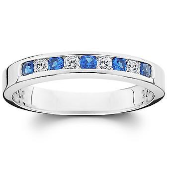 1 / 4ct Diamond & Blue Sapphire verjaardag trouwring