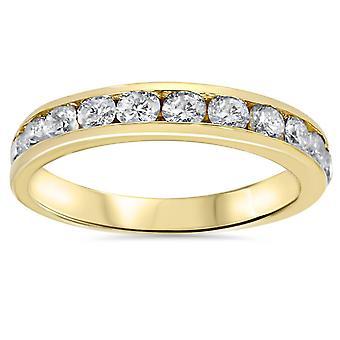 1 ct Diamond Wedding Anniversary Ring 14K Yellow Gold Ring Band