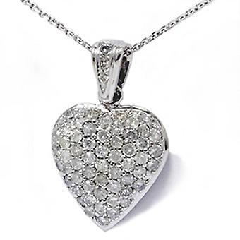 1ct Pave Real Diamond Heart Shape Pendant White Gold