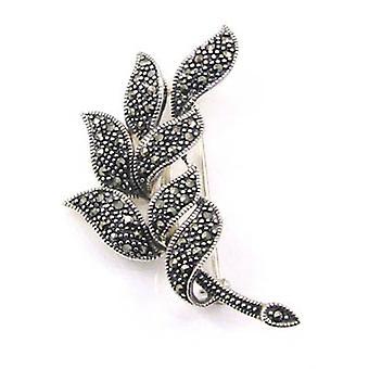 Broschen-Shop Markasit & Sterling Silver Leaf Corsage Brosche