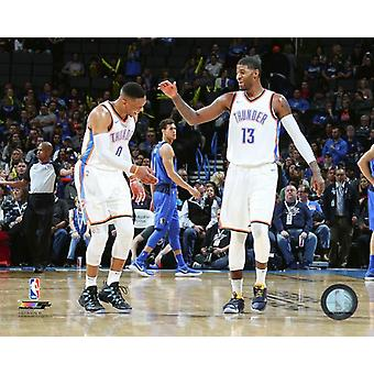 Russell Westbrook & Paul George 2017-18 Action Photo Print