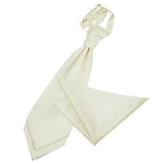 Elfenbein Plain Satin Hochzeit Cravat & Einstecktuch Satz