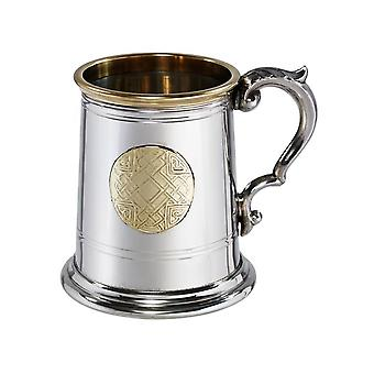 Celtic Brass Badge Pewter Tankard - � pint