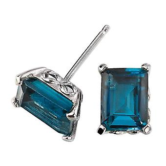 Elements Gold Topaz with Gallery Detail Stud Earrings - Blue/White Gold