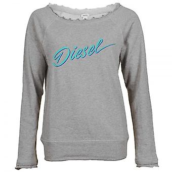 DIESEL Women UFLT-MILKY Sweatshirt, Grey, Small