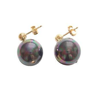 Gemshine - damas - pendientes - abalorios - Tahití - gris - oro plateado 12 mm