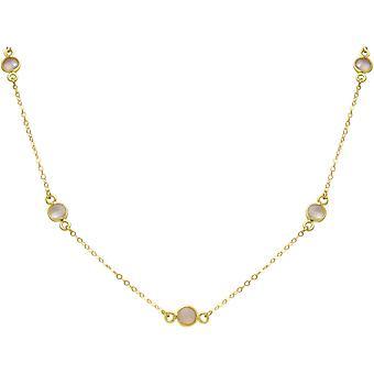 Gemshine - Damen - Halskette - 925 Sterling Silber - Vergoldet - Rose Quarz - 52 cm