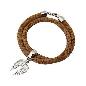 Gemshine Damen Armband Wickelarmband 925 Silber Flügel Braun