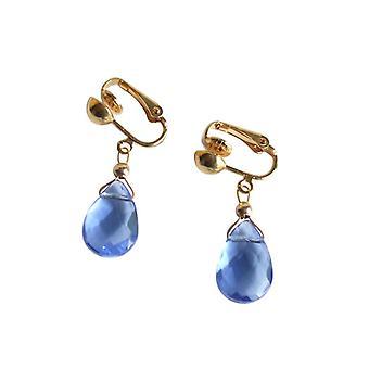 Gemshine - ladies - earrings - earrings - gold plated - drop Topaz - quartz - - 2 cm - Blue - faceted