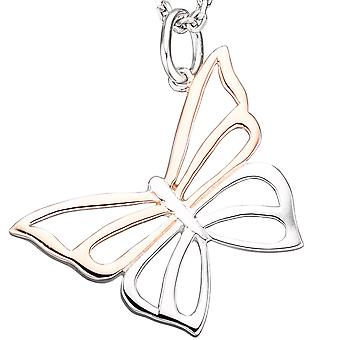 Pendant Butterfly 925 sterling silver gold plated bicolor