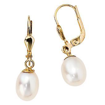 Boutons 585 /-g-guld perle øreringe 14 k guld perle øreringe perler