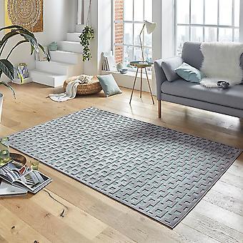 Ontwerp viscose tapijt Bouton in reliëf uiterlijk Grau Blau