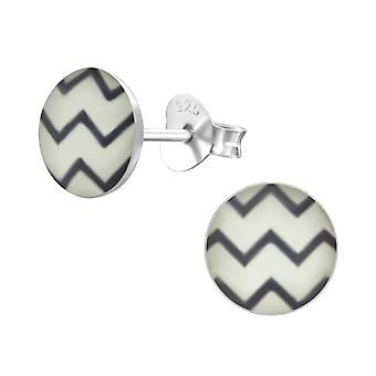 Wave - 925 Sterling Silver Colourful Ear Studs - W24450X