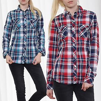 Ladies Checkered Shirt Blouse Plaid Shirt Lumberjack Flannel Optic Casual Trend