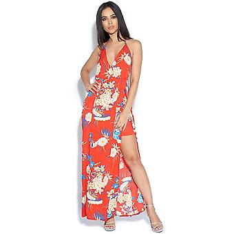 Blommig Print låret Split Maxi klänning