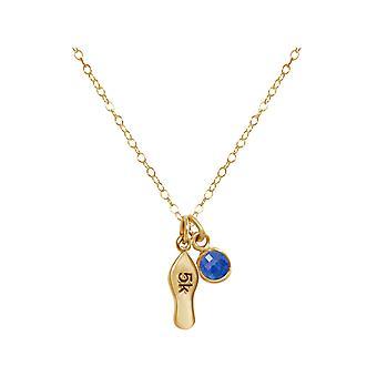 Gemshine Fitness Halskette 5k Runner in 925 Silber, hochwertig vergoldet oder rose im Sportschmuck Sport-look Jogger Stil mit blauem Saphir – Made in Madrid, Spain