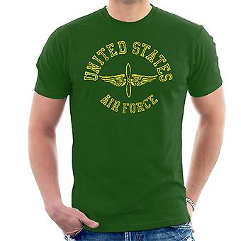 US Airforce Winged Propeller Yellow Text Men's T-Shirt
