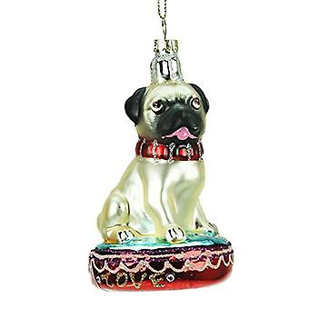 Gisela Graham Glass Pug Collectable Christmas Decoration