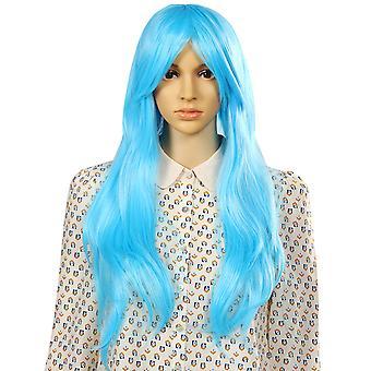 TRIXES lång blå peruk mjuka vågor naturtrogna vågiga lager syntetiskt hår