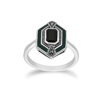 Gemondo Sterling Silver Black Onyx, Marcasite and Green Enamel Hexagon Ring